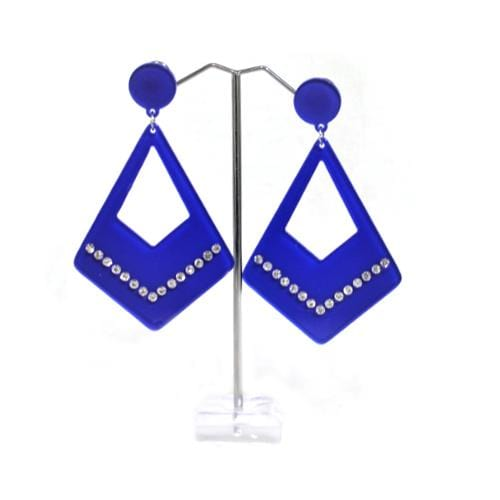 E0683 | Blue Dangling Rhinestone Rhombus Earrings - Hair to Beauty