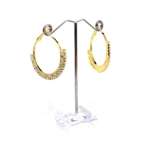 E0689 | Gold Hoop Earrings with Two Rows of Rhineshone