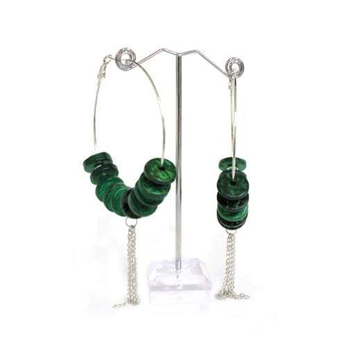 E0695 | Green Beads with Metal Tassel Earrings - Hair to Beauty