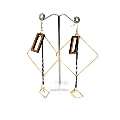 E0718 | Gold Square Earrings with Dangling Light Brown Rectangle - Hair to Beauty
