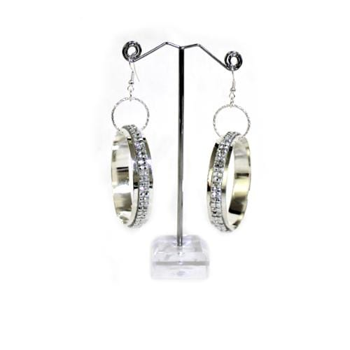 E0728 | Silver Hoop Earrings with Rhinestones - Hair to Beauty