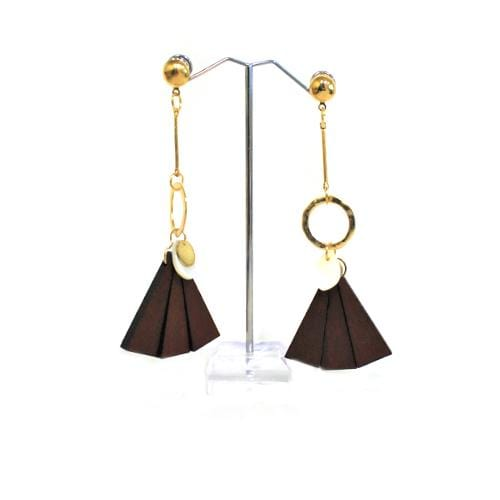 E0753 | Gold Earring with Dangling Dark Brown Wooden Fan - Hair to Beauty