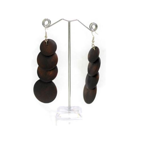 E0754 | Overlapping Dark Brown Wooden Disc Earrings - Hair to Beauty