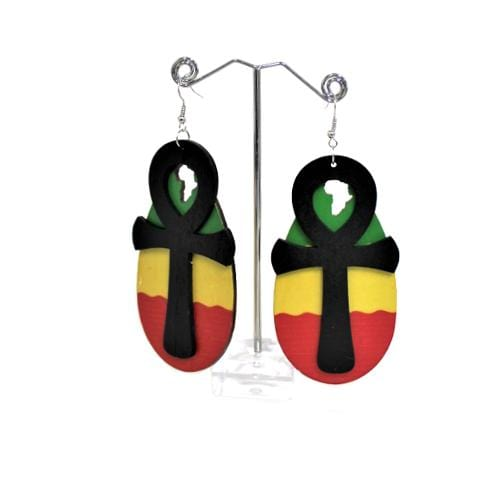 E0757 | Rasta Colors with Ankh & Africa Cutout Earrings.