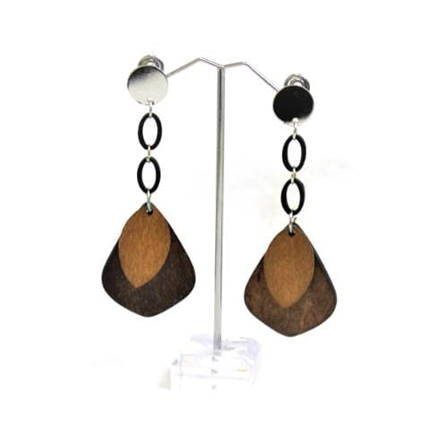 E0769 | Silver Dangly Two-Tone Light Brown Wooden Earrings.