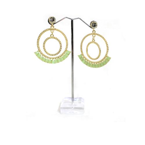E0772 | Gold Double Textured Hoop with Lime Green Gems Earrings.