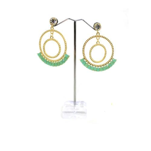 E0773 | Gold Double Textured Hoop with Teal Gems Earrings - Hair to Beauty