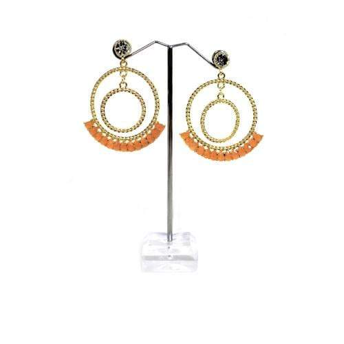 E0773 | Gold Double Textured Hoop with Orange Gems Earrings - Hair to Beauty