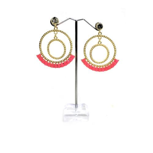E0775 | Gold Double Textured Hoop with Pink Gems Earrings - Hair to Beauty