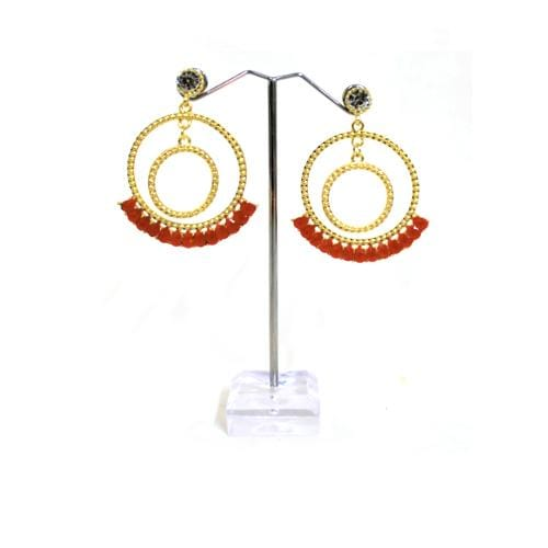 E0776 | Gold Double Textured Hoop with Red Gems Earrings - Hair to Beauty