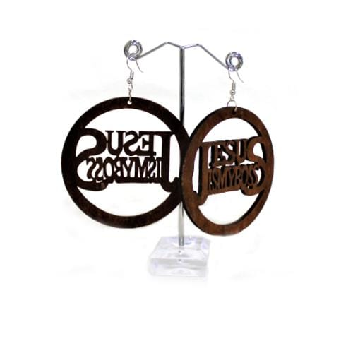 "E0781 | Wooden ""Jesus Is My Boss"" Earrings."