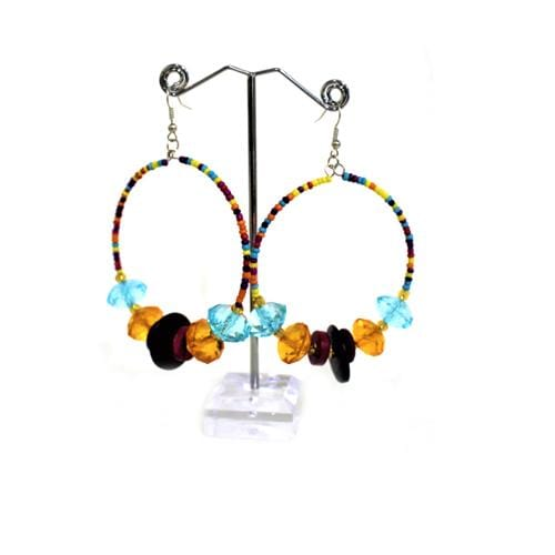 E0788 | Retro Beaded Hoop Earrings.