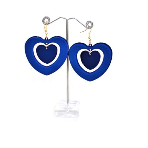 E0794 | Blue Acrylic Double Hear Earrings.