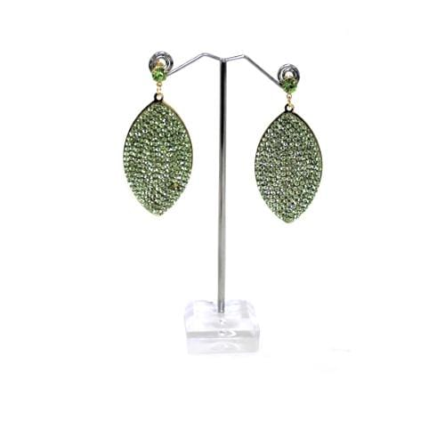 E0833 | Green Rhinestone Studded Marquise Earrings - Hair to Beauty
