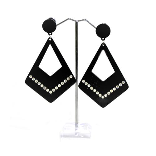 E0834 | Black Dangling Rhinestone Rhombus Earrings - Hair to Beauty
