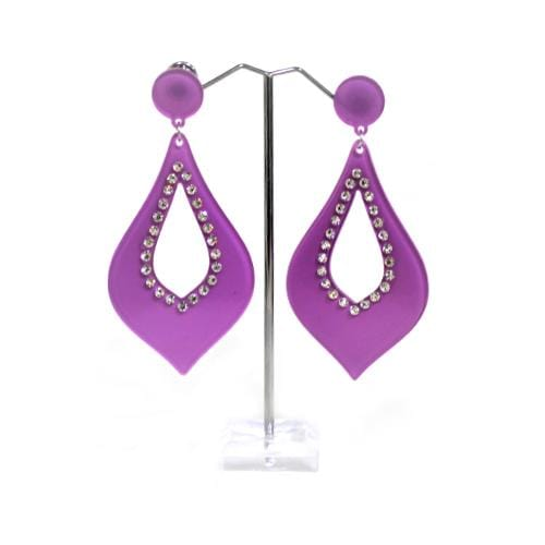 E0840 | Purple Fancy Teardrop Earrings with Rhinestones - Hair to Beauty
