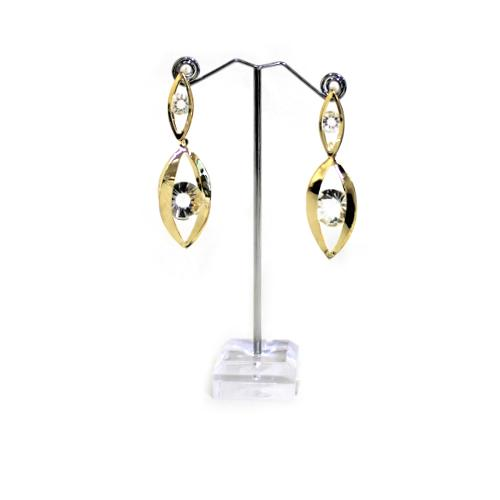 E0844 | Dangling Gold Pods with Crystal Earrings - Hair to Beauty