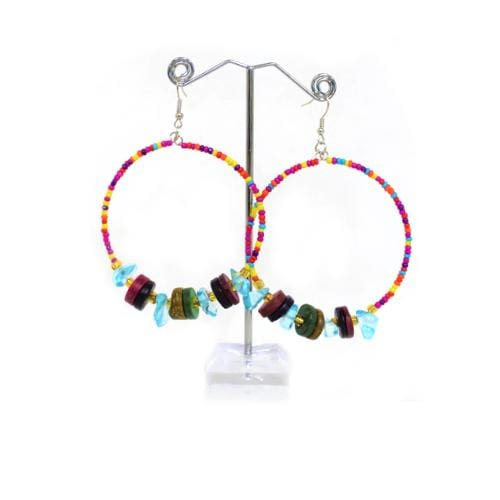 E0848 | Retro Beads Hoop Earrings with Aqua Crystal - Hair to Beauty