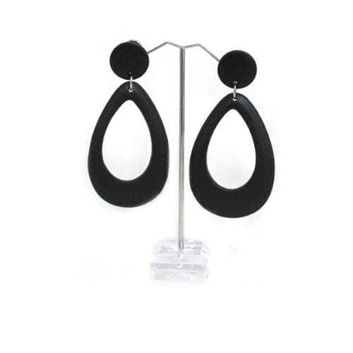 E0859 | Black Wooden Teardrop Earrings - Hair to Beauty