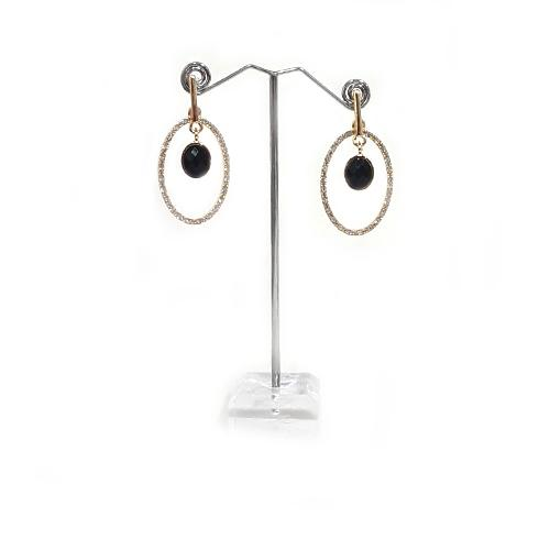 E0863 | Gold Rhinestone Earrings with Black Gem - Hair to Beauty