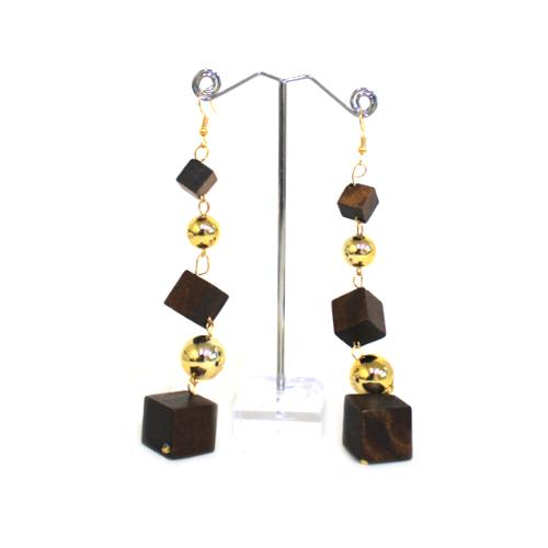 E0868 | Dangling Dark Brown Wooden Cube Earrings - Hair to Beauty