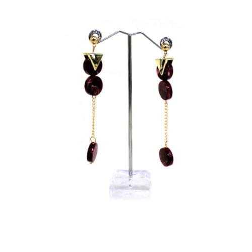 E0901 | Gold Earrings with Dangling Red Marble Discs - Hair to Beauty