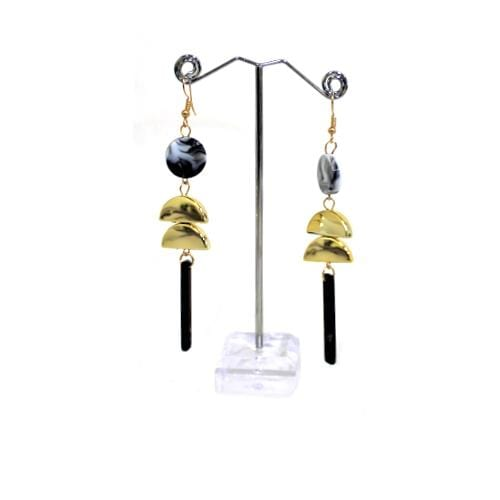 E0904 | Dangling Geometric Black Marble Earrings - Hair to Beauty