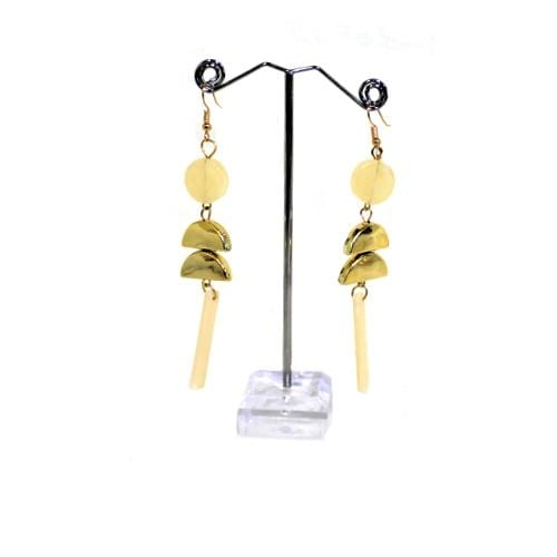 E0905 | Dangling Geometric Beige Marble Earrings.