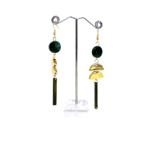 E0908 | Dangling Geometric Green Marble Earrings - Hair to Beauty