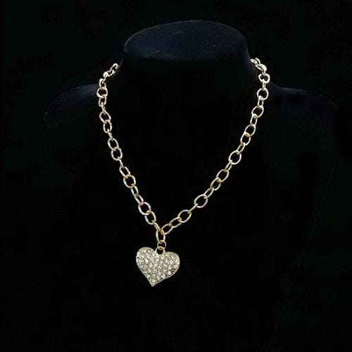 N0056 | Gold Heart Necklace with Rhinestones - Hair to Beauty
