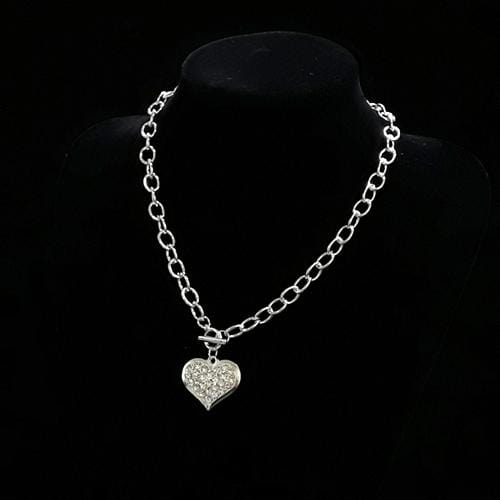 N0057 | Silver Heart Necklace with Rhinestones - Hair to Beauty