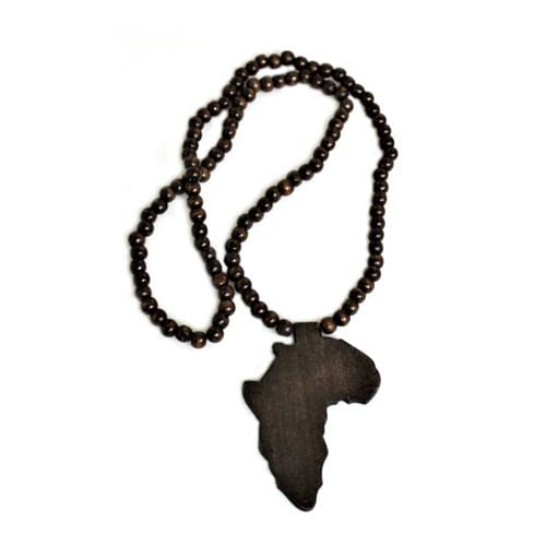 N0104 | Dark Brown Wooden Beads Necklace with Africa Pendant