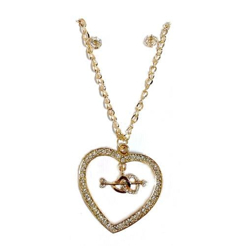 S0002 | Gold Cupid Hearts within Rhinestone Heart Necklace & Stud Earring Set - Hair to Beauty