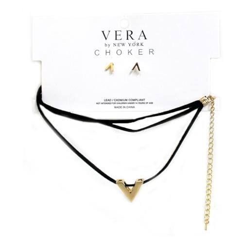 S0106 | Choker with V Charm and Earrings Set - Hair to Beauty
