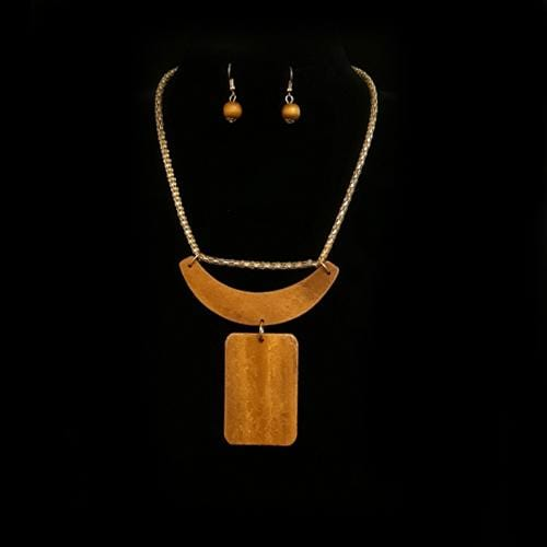 S0136 | Light Brown Wooden Geometric Bib Necklace and Earring Set - Hair to Beauty