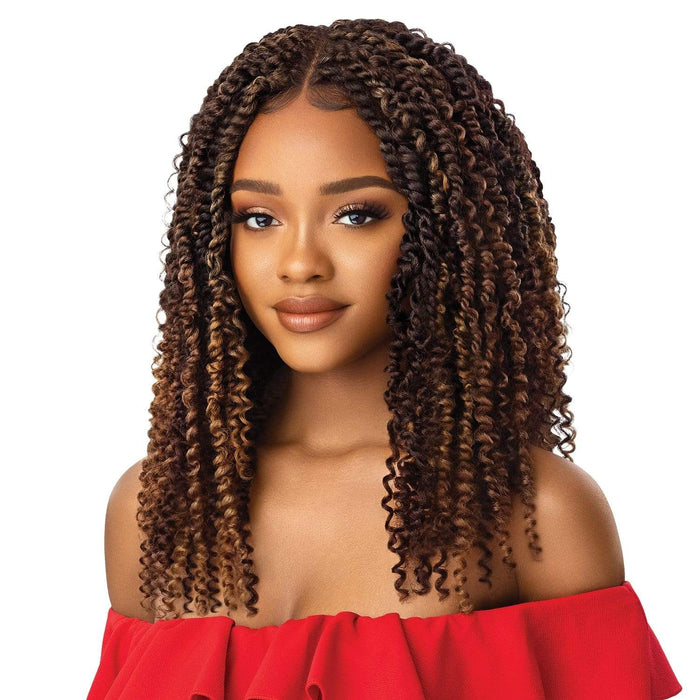 KINKY BOHO PASSION WATERWAVE 18 | X-Pression Twisted Up Synthetic 4X4 Swiss Lace Front Braid Wig.