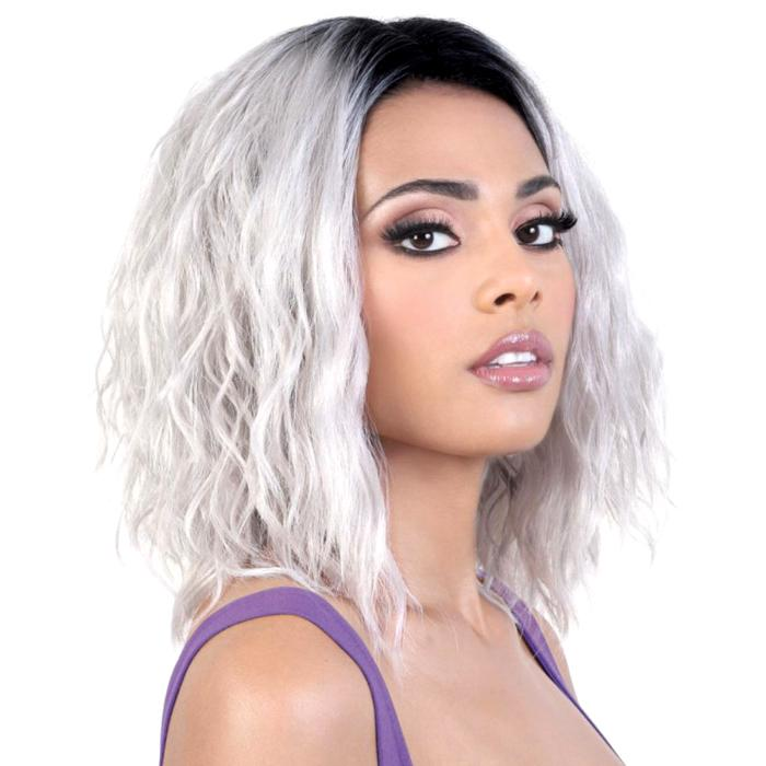 LDP-BOSS | Motown Tress Let's Lace Deep Part Swiss Lace Front Wig - Hair to Beauty | Color Shown: RT1B/ICYSILVER
