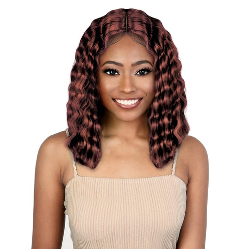 LDP-CRIMP14 - Motown Tress Let's Lace Synthetic Deep Part Lace Front Wig - Hair to Beauty | Color Shown : COPPER