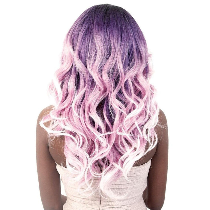 LDP-MONA | Motown Tress Let's Lace Synthetic Deep Part Lace Front Wig - Hair to Beauty | Color Shown: RT1B/VIOLETPINK