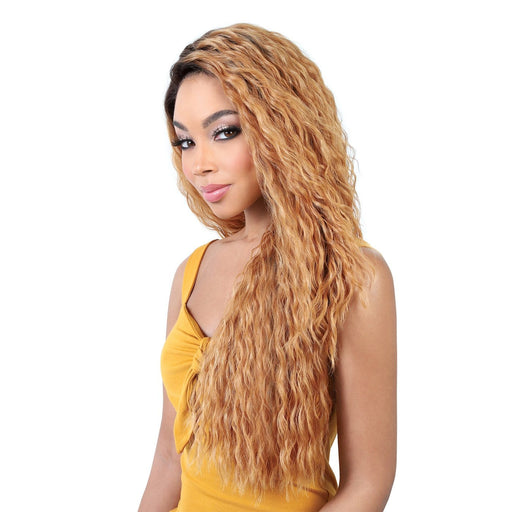 LDP-SPIN77 | Let's Lace Synthetic Deep Spin Part Lace Front Wig - Hair to Beauty | Color Shown: RT4/2714