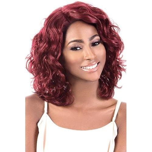 LDP-SUGAR | Motown Tress Let's Lace Synthetic Deep Part Lace Front Wig - Hair to Beauty | Color Shown: REDWINE