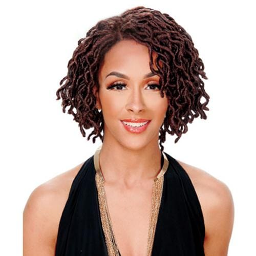 LOC-LACE WELLA | Zury Sis Wavy & Curly Faux Locs Synthetic Swiss Lace Front Wig - Hair to Beauty | Color Shown: