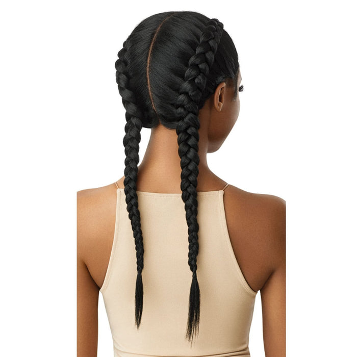 LOLA BLOW OUT STRAIGHT | Swiss X Dutch Braid Synthetic Lace Front Wig - Hair to Beauty | Color Shown : 1B