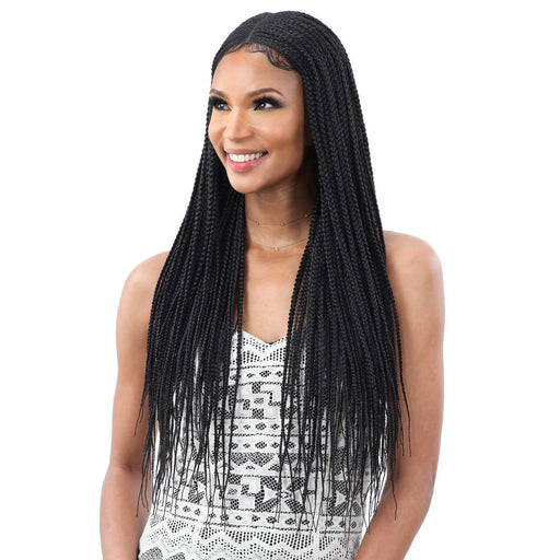 LONG BOX BRAIDS - FreeTress Equal Premium Braided Lace Wig - Hair to Beauty | Color Shown : 1B