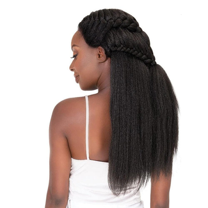 LULU | Natural Me Human Hair Blend Swiss Lace Front Wig  - Hair to Beauty | Color Shown: 1B