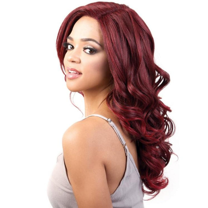 LXP. VIVI | Motown Tress Let's Lace Synthetic Deep Part Lace Front Wig - Hair to Beauty | Color Shown: TDEEPWINE/RED