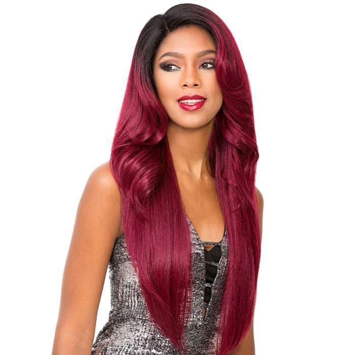 MATILDA | Sensationnel Cloud9 Dream Muse Human Hair Blend Swiss Lace Frontal Wig - Hair to Beauty | Color Shown: T1B/BURGUNDY