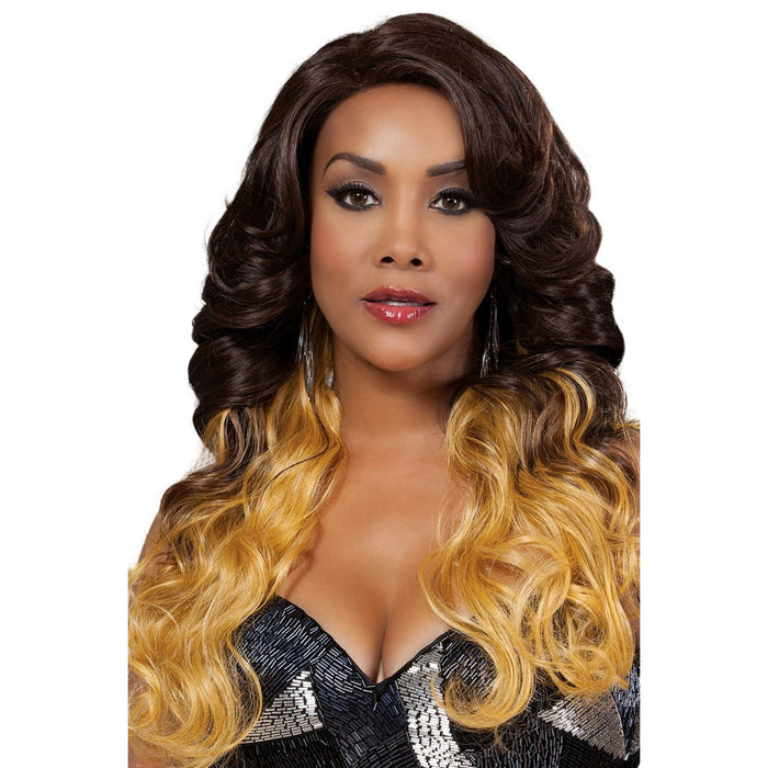 MELROSE | Vivica A. Fox Synthetic Natural Baby Hair Invisible Part Deep Swiss Lace Front Wig - Hair to Beauty | Color Shown: GM236