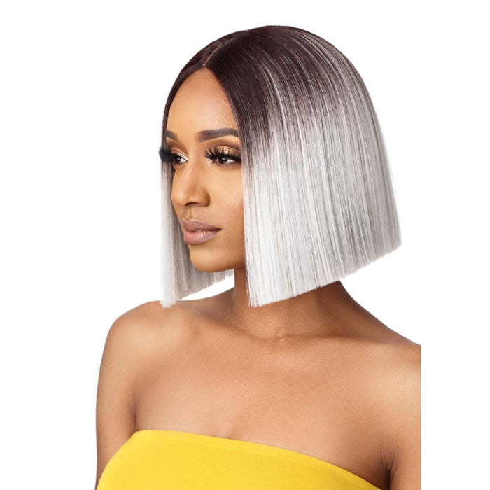 MIKAYLA | The Daily Synthetic Lace Part Wig - Hair to Beauty | Color Shown: DR4/Platinum Gray