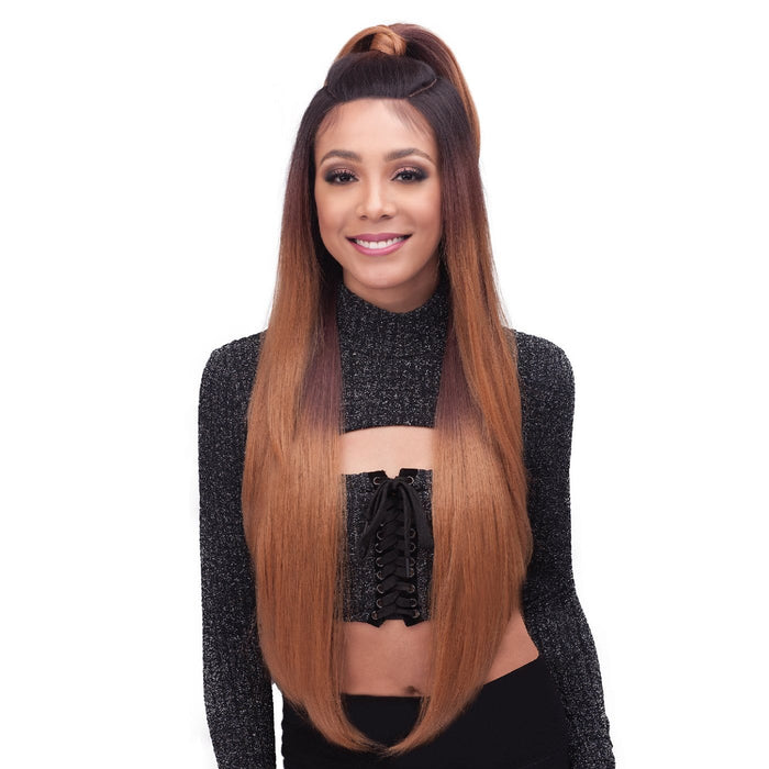 MLF370 BROOKLYN | Bobbi Boss Premium Synthetic Unique Part 13x7 Lace Front Wig - Hair to Beauty | Color Shown :  TT2/10613